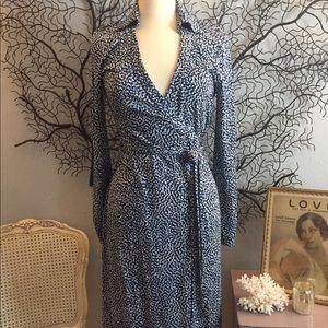 Diane Von Furstenberg Wrap Dress Midi Cybil Blue 8